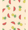 pineapples and watermelon pattern vector image vector image