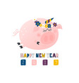 postcard with cute funny pig unicorn - symbol of vector image
