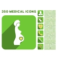 Pregnant Female Icon and Medical Longshadow Icon vector image