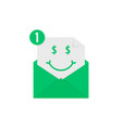 rich emoji in green letter notification vector image