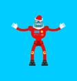 robot santa claus mechanical cyborg grandfather vector image vector image