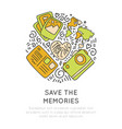 save the memories travel icons concept icon vector image vector image