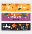 set of autumn sale banners design discounts and vector image