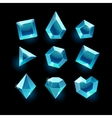 Set of cartoon blue different shapes crystal vector image vector image