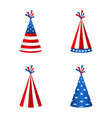 set party hats with flag of the united states of vector image vector image