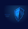 shield low poly blue vector image vector image
