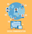 social network poster with earth user icon vector image vector image
