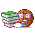 student with book volleyball mascot cartoon style vector image vector image