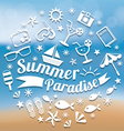 Summer Flat Icons and Heading on Blur Background vector image vector image