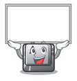 up board button a isolated with mascot vector image vector image