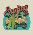 vintage surfing time colorful concept vector image vector image