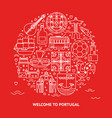welcome to portugal round concept with icons vector image