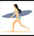 woman surfer run with surfboard vector image vector image