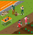 working on family farm isometric composition vector image vector image