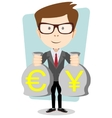 a happy young cartoon businessman with bag full vector image