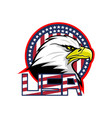 badge with american eagle and usa flag vector image vector image