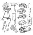 bbq sketch set of barbecue and grill tools vector image