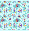 beautiful seamless pattern with ski vector image