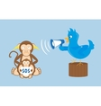 blue bird is shouting through a megaphone vector image