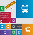 Bus icon sign Metro style buttons Modern interface vector image