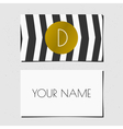 Business card template in golden black and white vector image