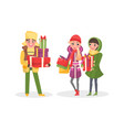 christmas shopping people with paper bags walking vector image vector image
