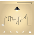 Cityscape with creative wire light bulb idea vector image vector image