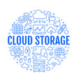 cloud data storage circle poster with line icons vector image vector image