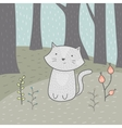 Cute hand drawn card with a cat and flowers in the vector image vector image