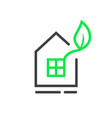 eco window logo with thin line house vector image vector image