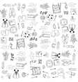Education tools doodles on white backgrounds vector image