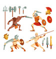 gladiators ancient roman armored spartan warriors vector image
