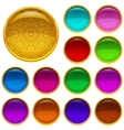 Golden buttons with patterned gems set vector image