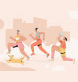 group people with dog running marathon at vector image