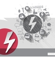 Hand drawn electricity icons with icons background vector image vector image
