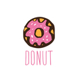 Hand drawn logo with donut vector image