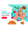 hands smartphone food composition vector image vector image