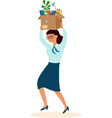 happy employee female holding box with stationery vector image vector image