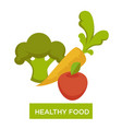 healthy food vegetables and fruit vitamin organic vector image vector image