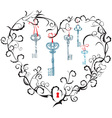 heart keyhole and keys vector image