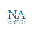 initial monogram letter na logo design template vector image vector image