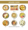 japanese cuisine traditional dishes flat vector image vector image