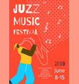 jazz music festival poster flat banner template vector image