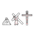 jesus pray and crucifix icon cartoon graphic vector image