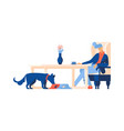 man sitting drinking coffee dog eating from bowl vector image vector image