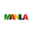 manila phrase overlap color no transparency vector image vector image