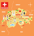 map switzerland with landmarks vector image vector image