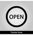 Open icon on grey background vector image vector image