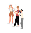 paparazzi or journalists making photography flat vector image