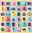 photographer equipment icons set flat style vector image vector image
